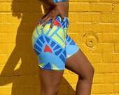 Masti Shorts - Geometric print shorts - High waist biker shorts - Comfy biker shorts - Women's shorts - Colorful shorts - Gym clothing