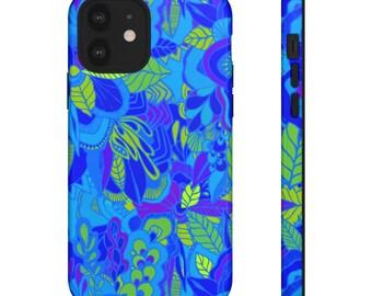 Blue Floral Print Phone Case - Phone Case - Hard Phone Case - Patterned Phone Case - Colorful iPhone Case - Samsung Phone Case