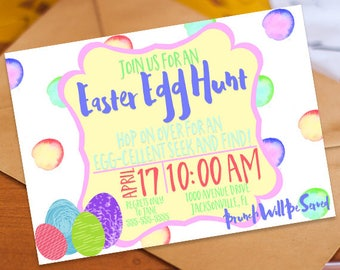 Easter Egg Hunt Invitation Personalized Card Custom Printable Spring Print 5x7 Piper And Lily Prints