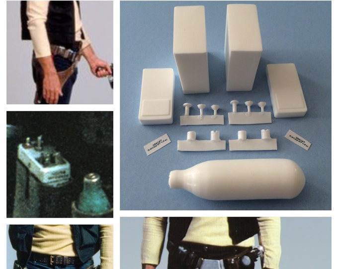 Updated! Han Solo ANH Belt Accessory Kit-2 Power Cells and Cyclinder-The Most Screen Accurate Han Solo Accessory Greeblies Kit Ever Offered!