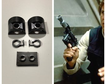 "Star Wars Han Solo / Luke Skywalker DL44 Blaster Greeblies ""Complete"" Set - ESB ROTJ DL44 Blaster- Star Wars Costume Prop"
