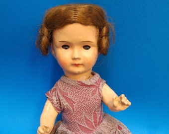 Antique composition doll Germany human hair sleepy eyes 1930