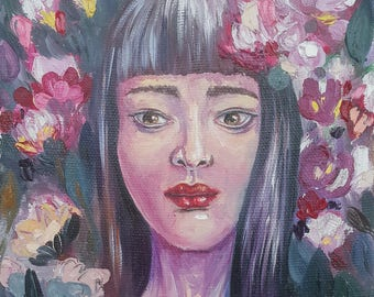 In Flowers / Portrait Original Painting. Oil on Canvas / 30H × 20W × 2 cm