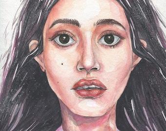 Nicole / Original Painting. Watercolor, Acrylic on Paper / 32H × 24W cm