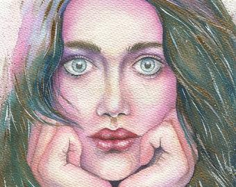 Margarita / Original Painting. Watercolor, Acrylic on Paper / 27H × 19.5W cm