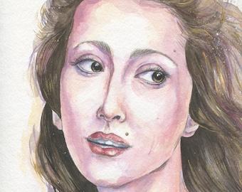 Maya Plisetskaya / Original Painting. Watercolor, Acrylic on Paper / 32H × 24W cm