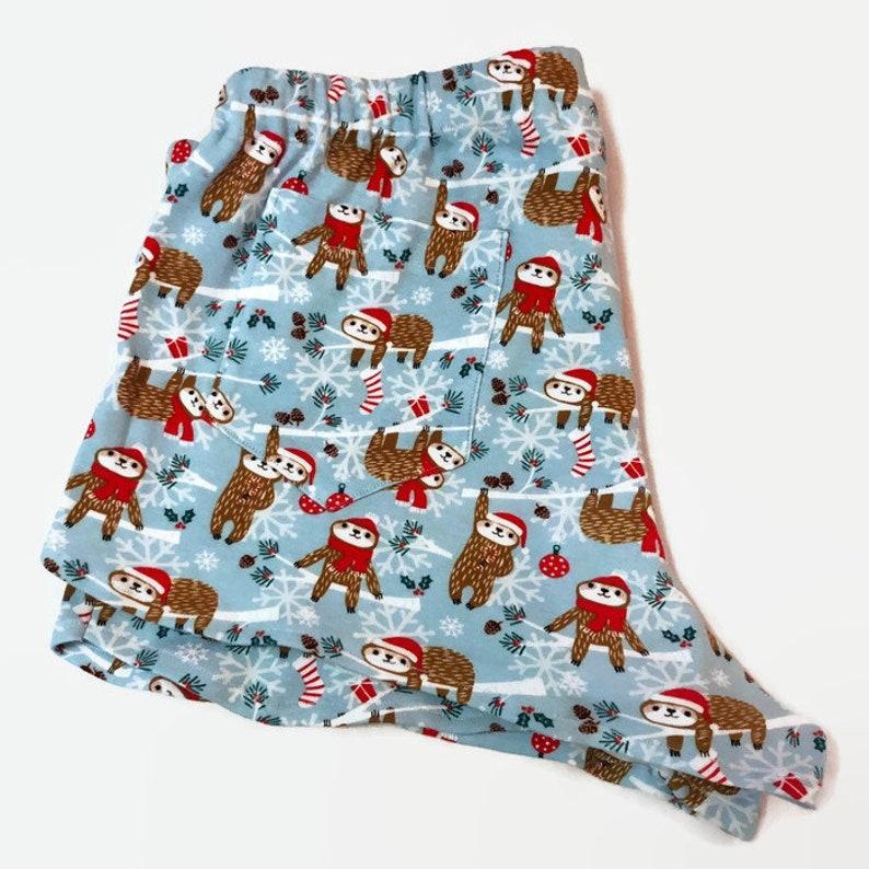 985ca6ac091 Holiday sloth pajama shorts, christmas sloth pj shorts