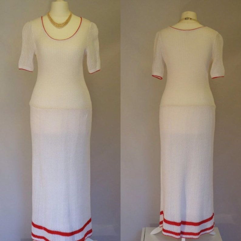 leisure-chic dress FIGURE HUGGING Vintage 1980/'s dress stretch cotton dress with red trim: UK 8-10 white knitted dress