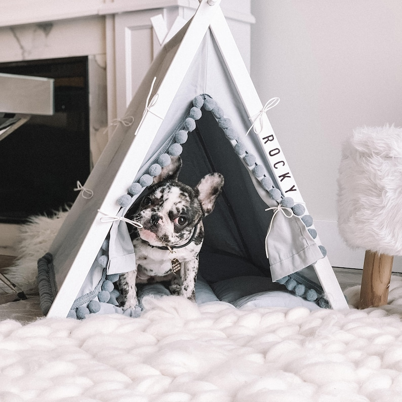 Boho Gray dog teepee bed with pom poms. Personalized pet image 3