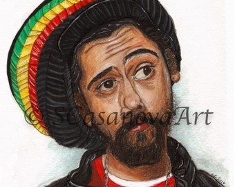 Damian Marley Portrait Rasta Reggae - Art Print