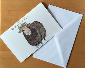 BEWEtiful Sheep Beautiful Blank Greeting Card