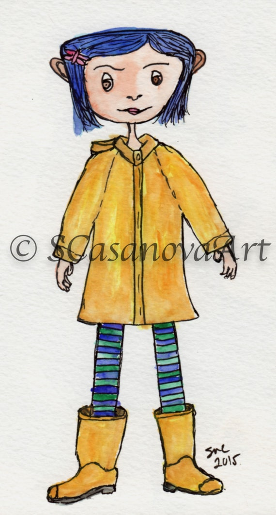 Coraline In A Raincoat Art Print Etsy