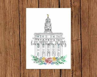 Nauvoo Temple Watercolor Print