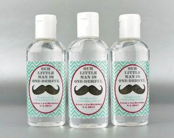 Personalized. Mustache Birthday. 1oz sanitizer