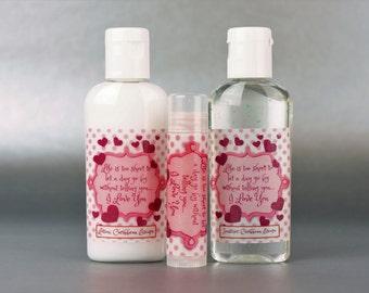 Personalized. Valentine's day. 1oz lotion/sanitizer/lip balm set