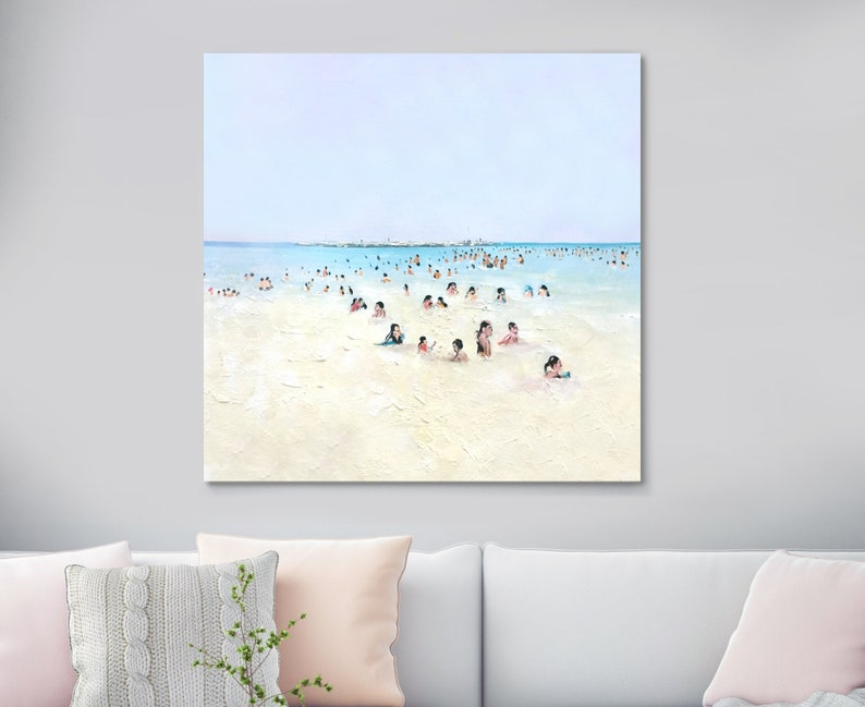 Large Beach Scene Original Art Oil Painting On Canvas Beach Painting Beach  Art Sea Painting Ocean Painting Seascape Painting Beach Artwork