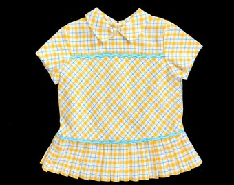 8e0890c8018 Vintage 60's Yellow Blue Check Mod Pleated Dress Made in France 3-6 Months