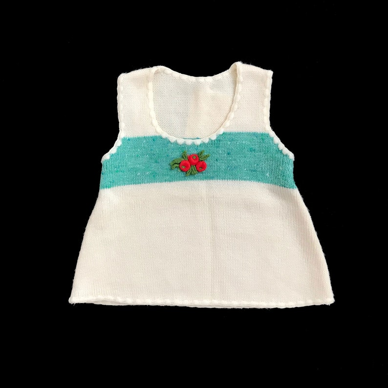 Vintage 70/'s WhiteGreen Knitted Dress Made in France 3-6 Months