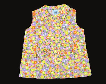 Vintage NOS 60's Pink/Yellow/purple Floral Mod Dress New Old  Stock 18-24M, 2-3Y