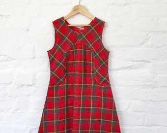 Vintage 60s 70s  Red Tartan Dress French Made 8-10 Y