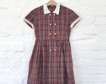 Vintage 80s  Red Tartan Dress Japan Made 10 Y+