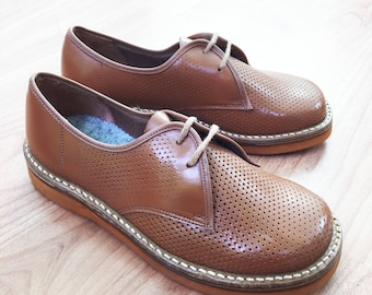 50s Brown Leather Brogues Made in France EU 31