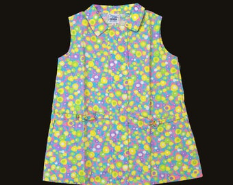 Vintage NOS 60's Blue/Yellow/pink Floral Mod Dress New Old  Stock 18-24M, 2-3Y, 3-4Y