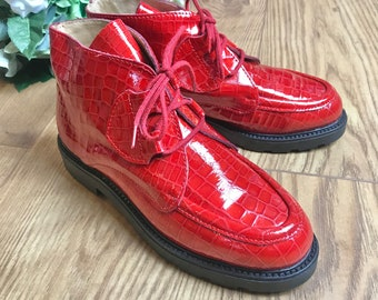 Deadstock 1970's Children's Red Patent Leather Low Boots  Made in France EU34