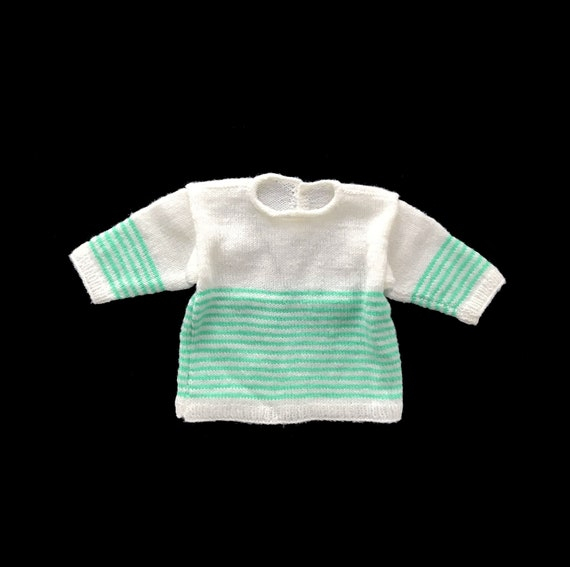 Vintage 70's Mint GreenWhite Striped Knitted Sweater French Stock 3 6 Months