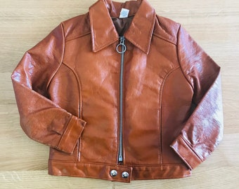 Vintage 60's Light Brown Faux Leather Jacket French Stock  5-6Y