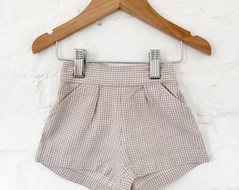 Vintage 60's Beige Checkered Shorts British Stock NOS 12-18 Months
