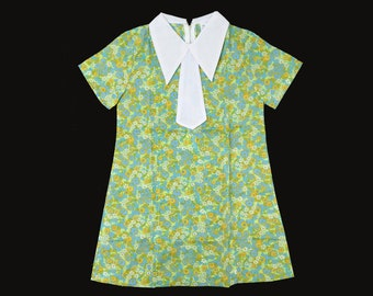 Vintage NOS 60's Blue/Green Liberty Floral Mod Dress New Old  Stock 5-6, and 6-8 Y