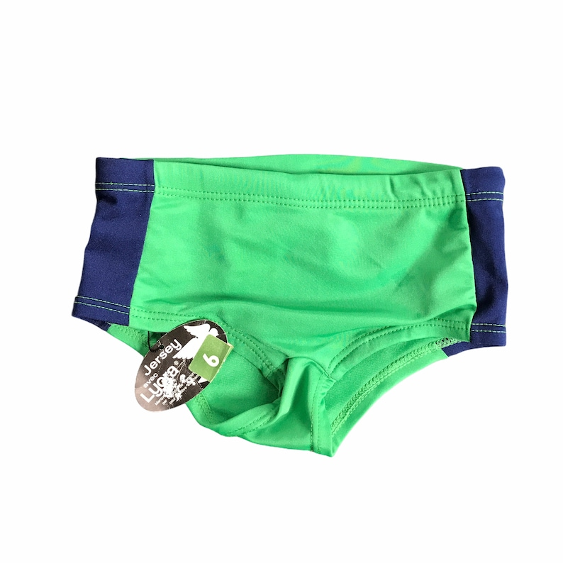 1960/'s Vintage Navy  Green Mod  Kids Swimming Trunk  French Made 5-6Y