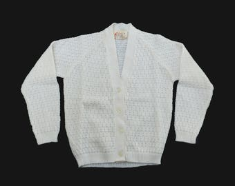 Vintage 60's White Cardigan British Made New Old Stock  6-8 Years