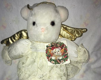 017813dc60f Vintage American Greetings Angel Bear Plush Gold Wings White Lace dress  Puff NWWTS Halo 11