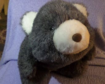 """Vintage Gund Snuffles Dark gray charcoal 12"""" Dated 1980 white brown nose Rare"""