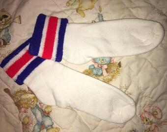 a9624d141ab Vintage Tennis Socks Terrycloth Cuff orlon Womens 9-11 NWOTS Red white Blue  Golf 70's 80's Sport