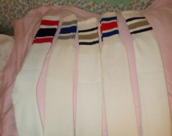 d624164a19d5b Tube Socks Long Stripes NWTS & NWOTS lot Mens 80's red tan blue black  vintage long for fresh feet