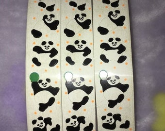 Vintage boomerang bear stickers etsy vintage panda bear sticker lot roll huge playful 1000s on roll pace different poses black white m4hsunfo