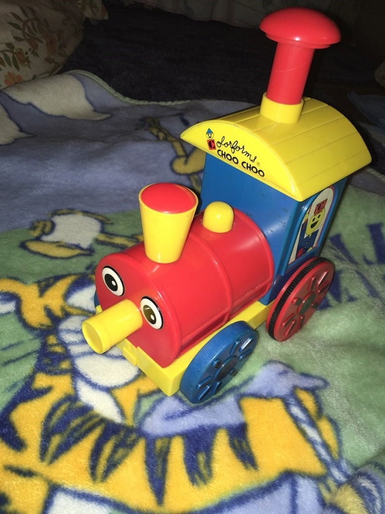Vintage Colorforms Train push release wheels go 1985 Helm Toy Choo Choo 9
