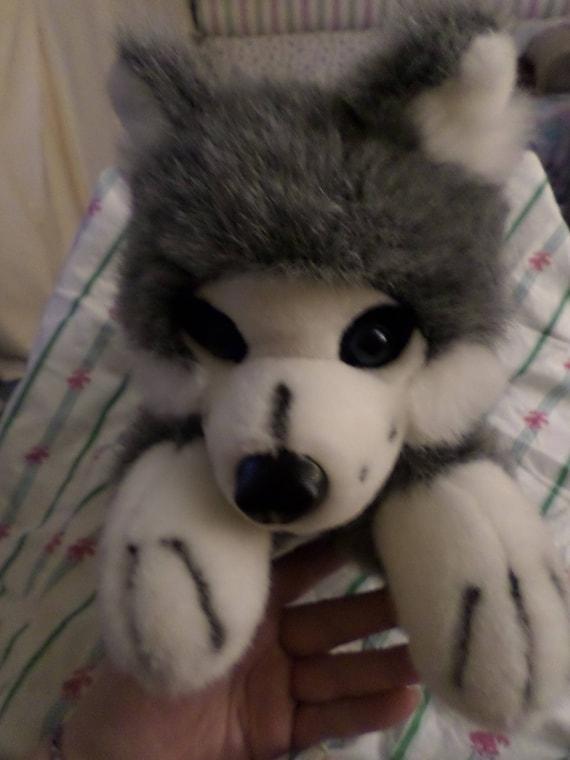 Vintage Husky Plush Ganz Deep Blue Eyes Gray Black White Dog Dated 1996 Sled 14 Puppy