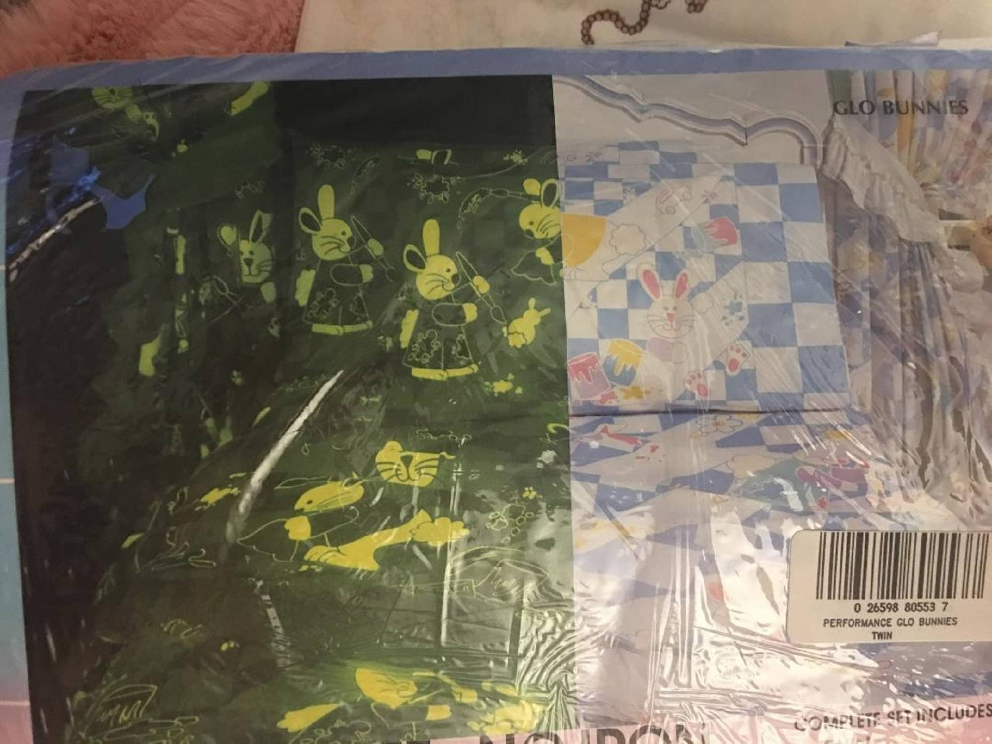 vintage Glow In The Dark Twin Size Bed Sheets Glo Bunnies Bunny Springs NIP set Pillowcase Fitted Flat Sweet Dreams