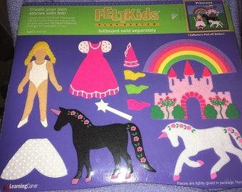 Vintage Feltkids Felt Unicorn Princess rainbow NIP 1994 Learning curve Castle dress up Kids