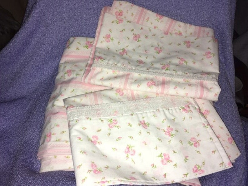 5ca638eb391 Vintage JcPenney Pillowcase Flat sheet Double Baby Pink Roses