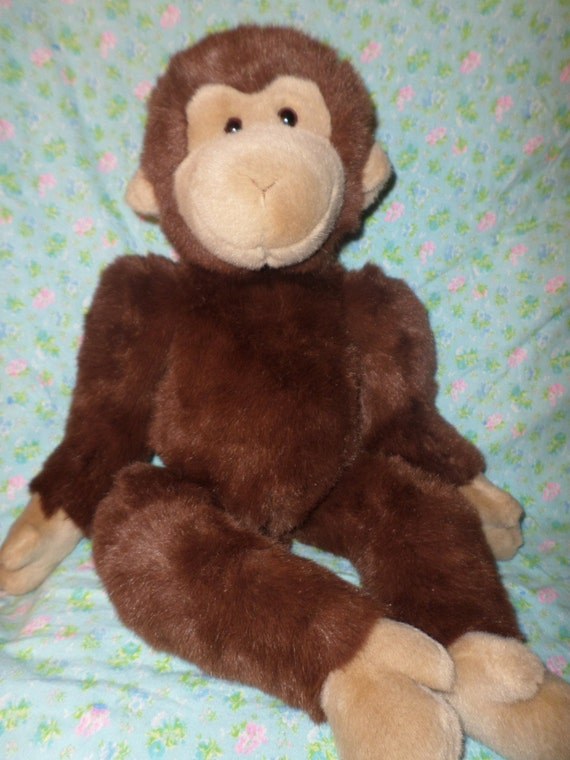 Gund Monkey Plush Big 25 Dark Brown Tan Face Ears Hands Etsy