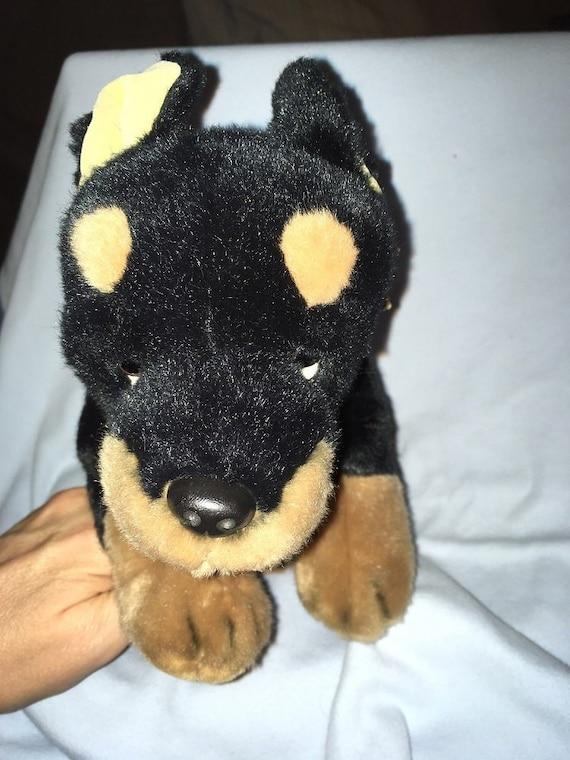 Vintage Russ Doberman Pinscher Plush Dog Puppy Cropped Velour Etsy