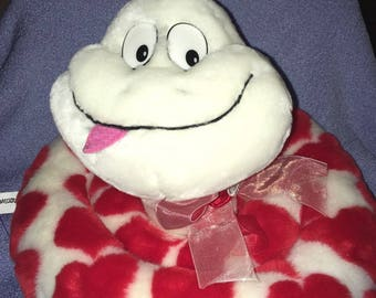 """Vintage Commonwealth Snake plush White with Red Hearts Valentines Day Love Felt tongue Sheer bow Coiled up smile 10"""" x 12"""""""