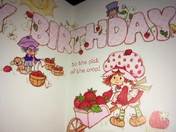 Vtg Set of 5 AG Kids Birthday Cards Care Bears Strawberry Shortcake Sesame St