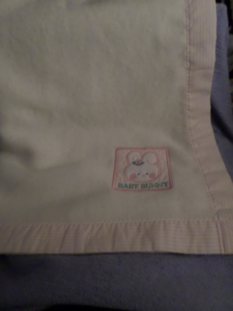 Cuddle Time Baby Bunny Blanket Vintage white pink pin stripes around rosy cheeks 44x 36  Warm Rabbit Lovey child