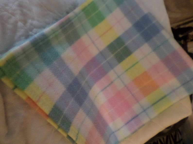 Plaid Baby blanket stripe one too Vintage pastels thermal plus older flannel is other lot of 2 pink yellow teal blue mint white